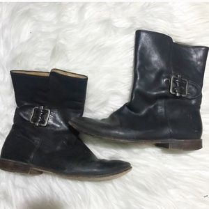 Frye Mid Buckle Black Leather Boots